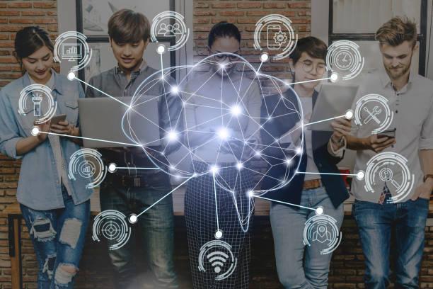 Infographie d'un réseau de partage commun avec différents salariés d'une entreprise