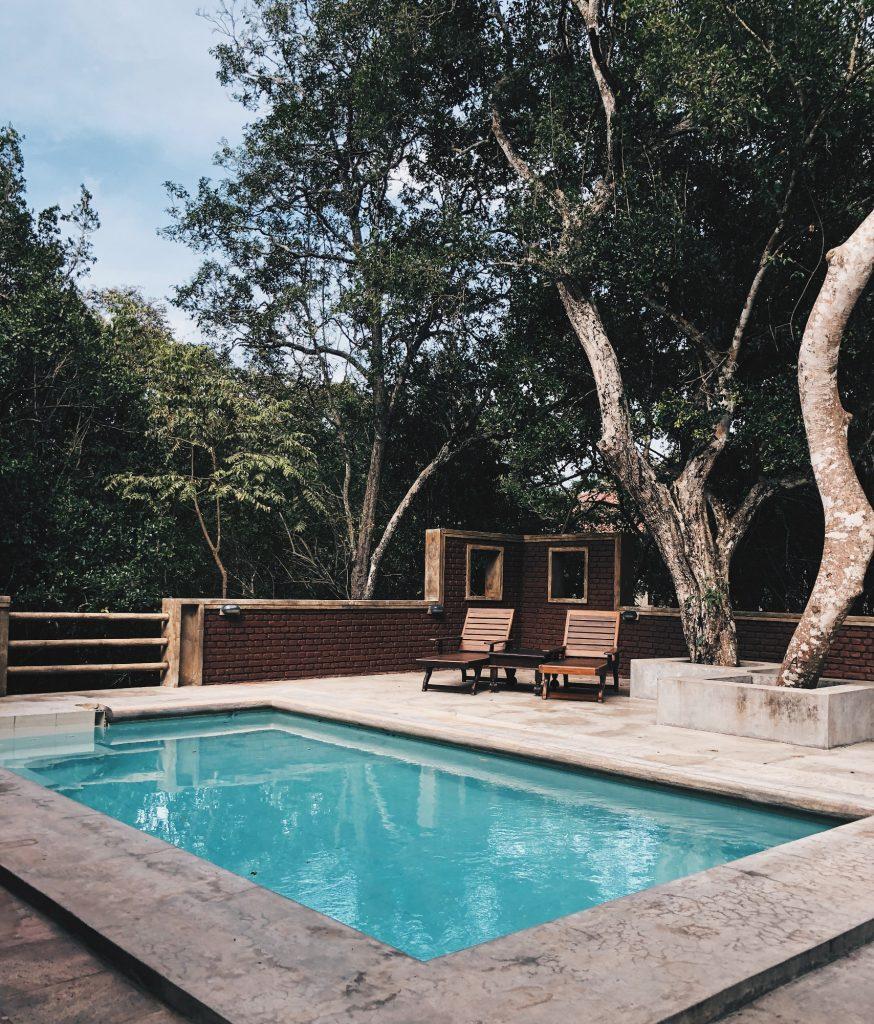 extérieur avec piscine et transats en bois sous des arbres
